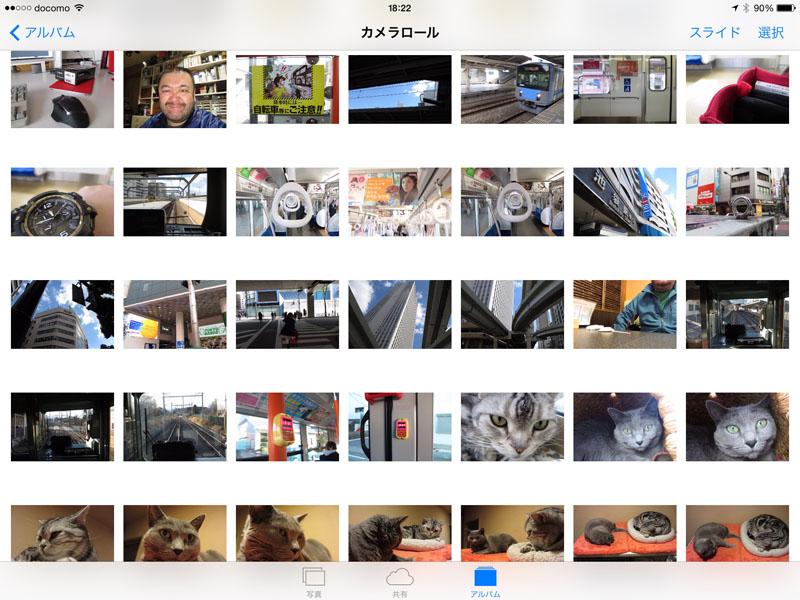 iPadに「PowerShot N2」で撮った写真を転送しています。カメラロールを見ると、「PowerShot N2」によるスナップ写真がズラリ。電車で出掛けて、街を歩いて、打ち合わせして、帰宅して猫を撮って……的に、行動が丸わかりのサムネイルです。