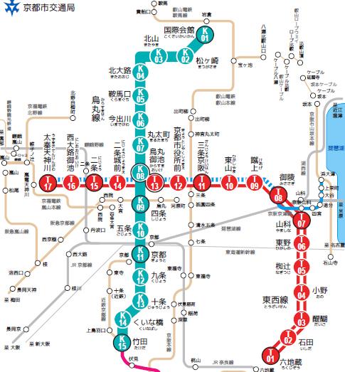 京都市営地下鉄の路線図(UQコミュニケーションズのプレスリリースより引用)