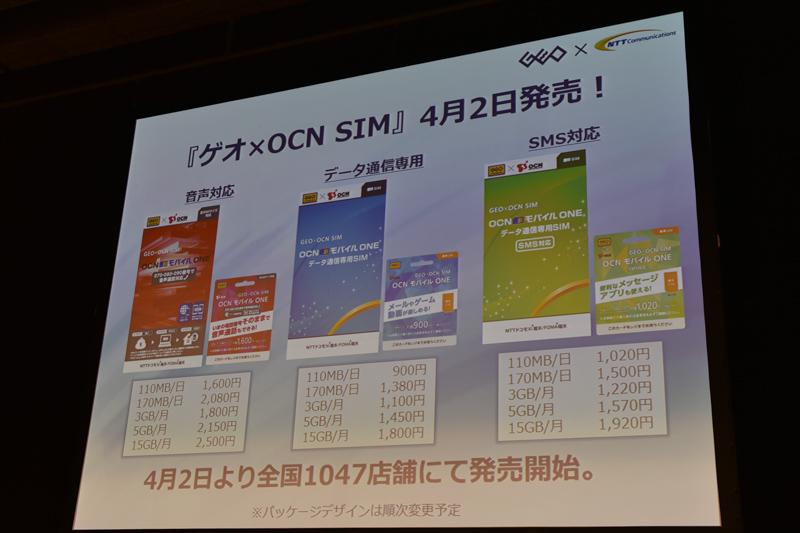 OCNから提供を受けるゲオ特典付きのSIMカード