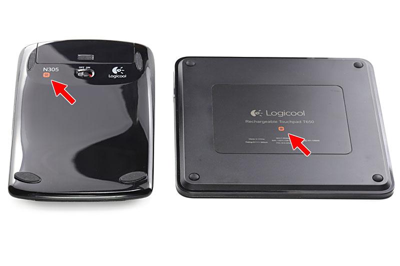 無線接続方式はBluetooth Smartのほか、Unifyingにも対応。写真のようなUnifyingドングル(USBレシーバー)に対し、最大6台のUnifyingデバイスを接続できます。たぼえば1つのUnifyingドングルに、「MX Master」などのUnifying対応マウス、Unifying対応テンキーパッド、Unifying対応タッチパッドなどを接続して同時に使えます。ネジ穴のような赤いマークがUnifying対応を示しますが、「MX Master」はこのマークがグレーでした。