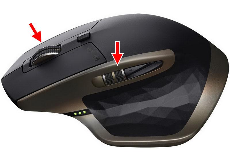「MX Master」にはクリックボタンの間にある垂直スクロール用ホイールに加え、左側に水平スクロール用のサムホイールがあります。