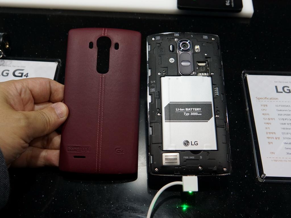 背面パネルを外すと、3000mAhの着脱可能な電池パックが装備されている