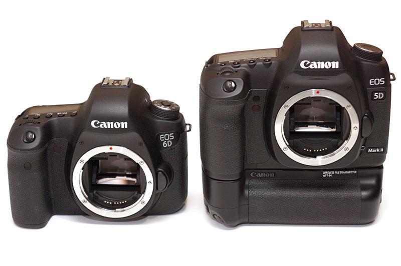 左はキヤノンの「EOS 6D」。右はワイヤレストランスミッターを装着した「EOS 5D Mark II」。「EOS 6D」は安価&シンプルに無線テザー撮影可能なボディです。