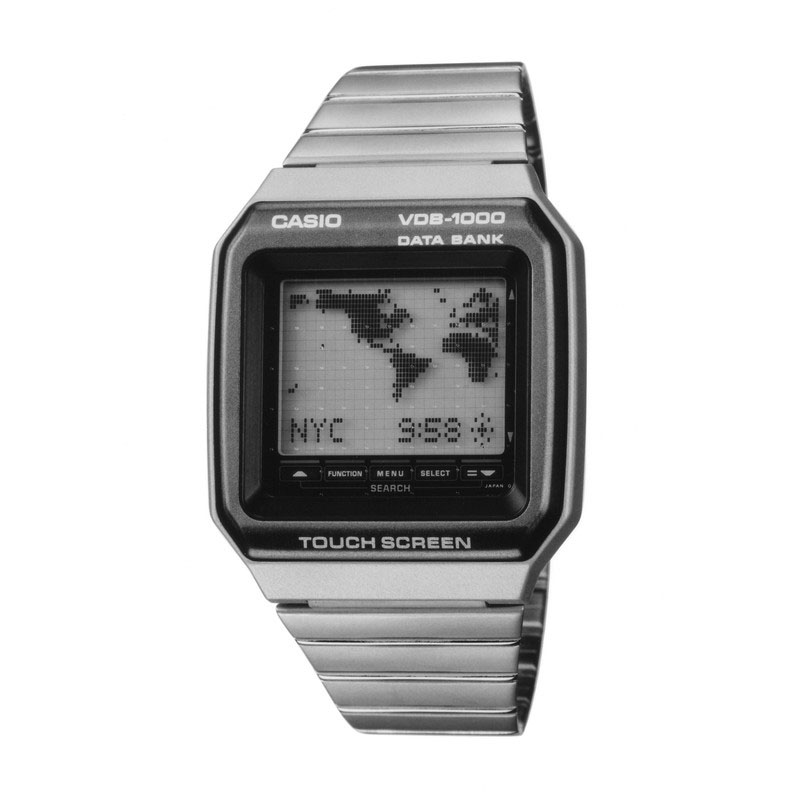 タッチセンサー採用で操作ボタン・リューズレスなデータバンクウォッチ「ビジュアルデータバンク VDB-1000」:1991年(平成3年)発売