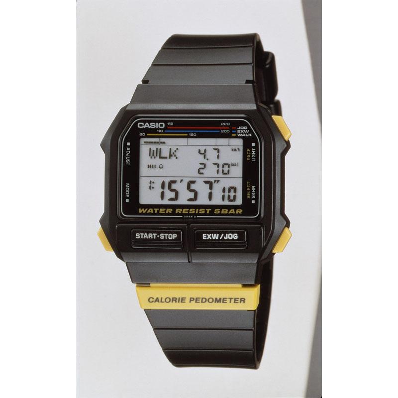 加速度センサーで歩数・距離・時速を計測するエクササイズウォッチ「EXW-50」:1989年(平成1年)発売