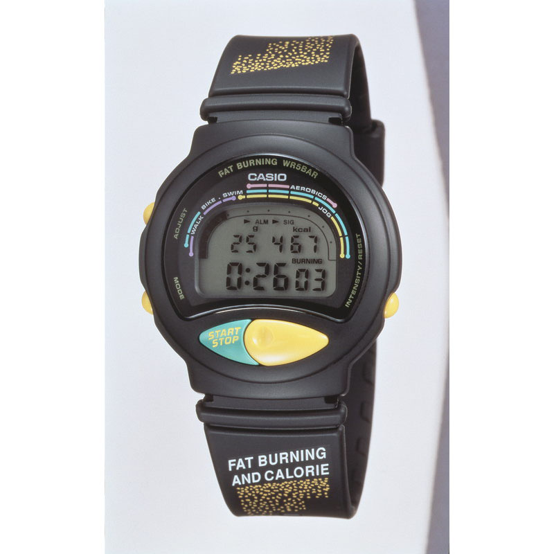 運動時に燃焼した脂肪量を算出できる「ファットバーニング FBR-10W」:1993年(平成5年)発売
