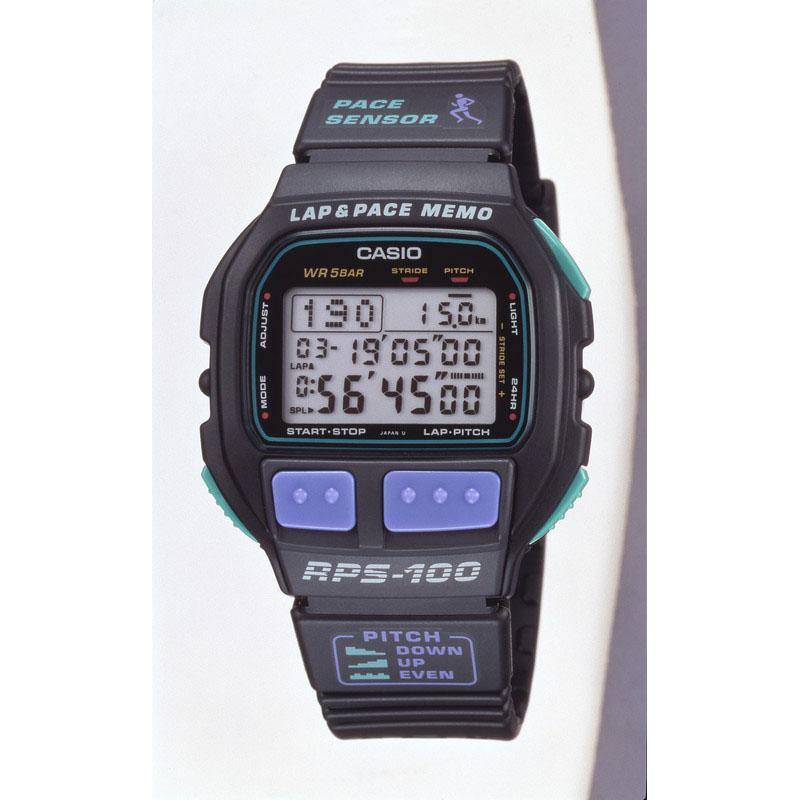 ピッチを計測・記録できるマラソンウオッチ「ラップ&ベースメモ RPS-100W」:1993年(平成5年)発売