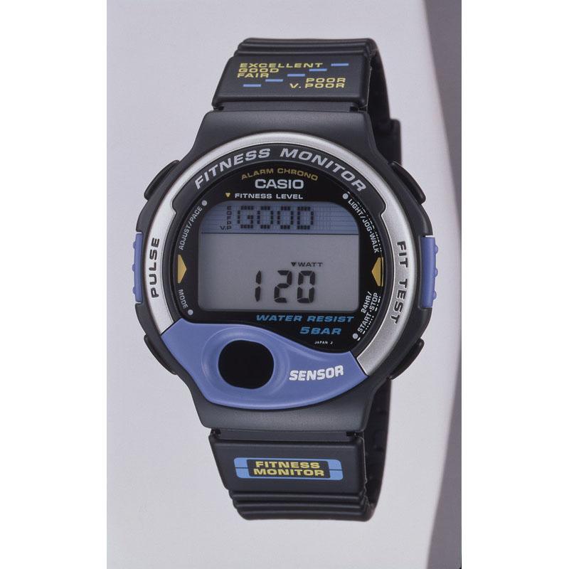 踏み台昇降運動時の脈拍数から持久力をが5段階で評価する腕時計「フィットネスモニター FIT-100」:1994年(平成6年)発売