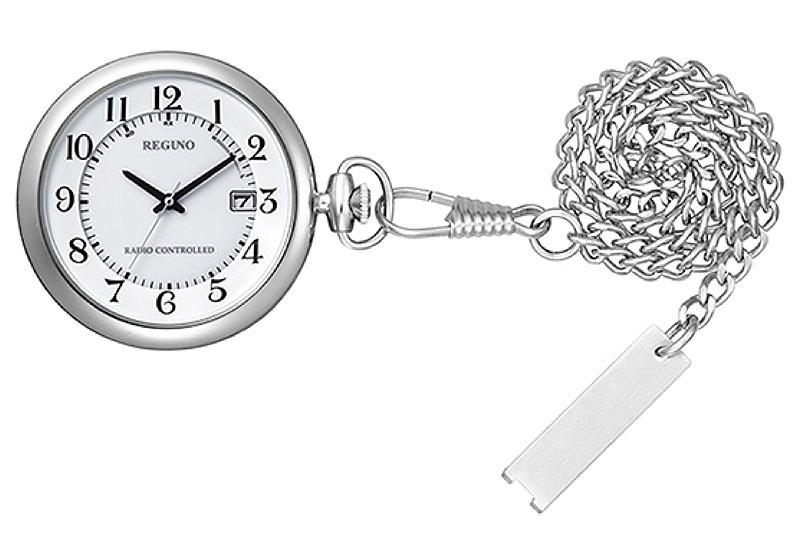 シチズンREGNOシリーズ、ソーラーテック電波時計の「KL7-914-11」(左)と「KL7-922-31」(中央)。色違いですな。どちらもソーラー充電式の電波時計で、タイプは懐中時計(ポケットウォッチ)。実勢価格は、「KL7-914-11」が税込1万2000前後、「KL7-922-31」が税込1万4000円前後。
