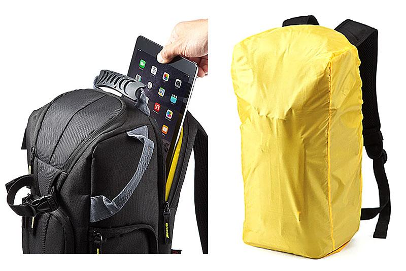 背中に当たる部分にはカートのキャリーハンドルを通せる機構があります。その内側にはタブレットや小型ノートPCが収まるポケットがあり、iPad Airや12インチMacBookを収めることができました。簡易撥水カバーも付属しています。