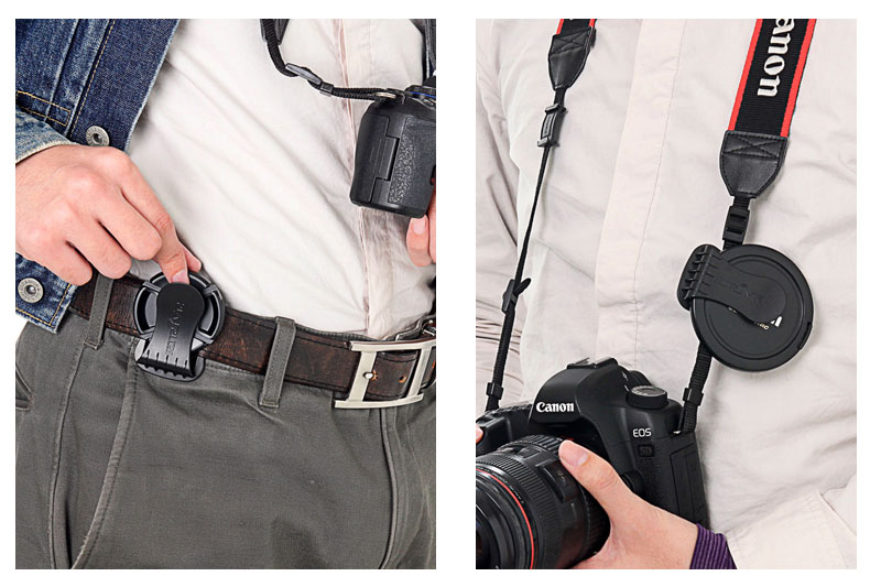 こんなふうに、ベルトやストラップに装着。レンズキャップをそこに保持しておけます。レンズキャップ専用の「居場所」ができる感じ。