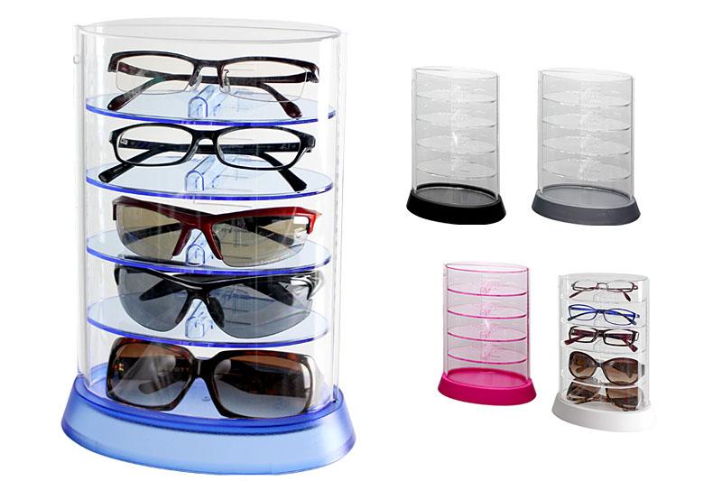 シンコハンガーの「アイコレクタワー」。メガネやサングラスを保管しておくためのクリアのケースですな。眼鏡類が5本入ります。5色展開。