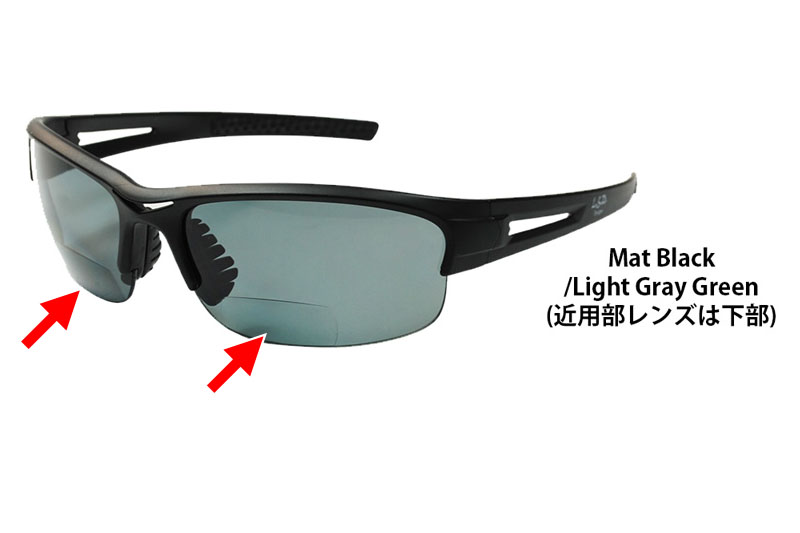 このカラーのサングラスの場合、矢印の位置が度付きです。視線だけ下に向ければ手元をクッキリと見ることができます。使ってみるとヒッジョーに便利。