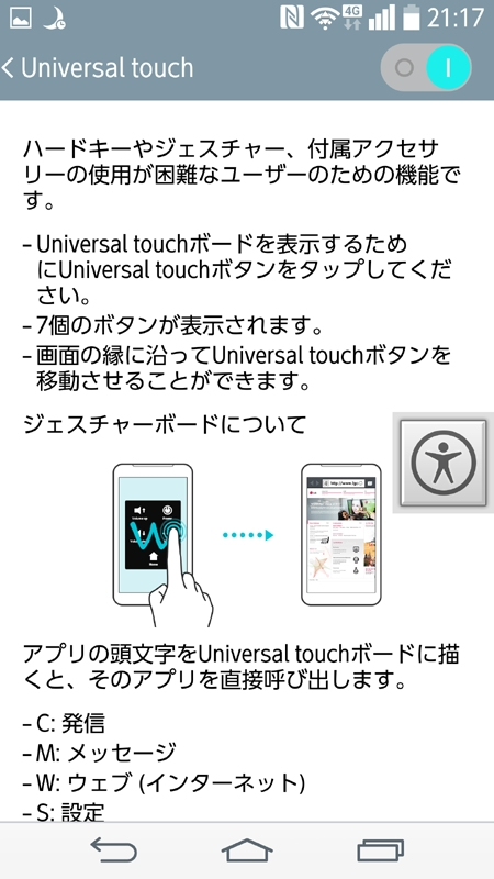 「Universal Touch」の設定画面。機能をオンにすると、画面右に人型アイコンが常時表示されます