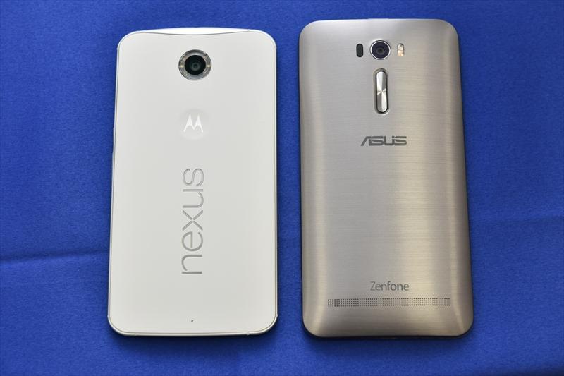 左が「Nexus 6」、右が6インチ画面の「ZenFone 2 Laser」(ZE601KL)
