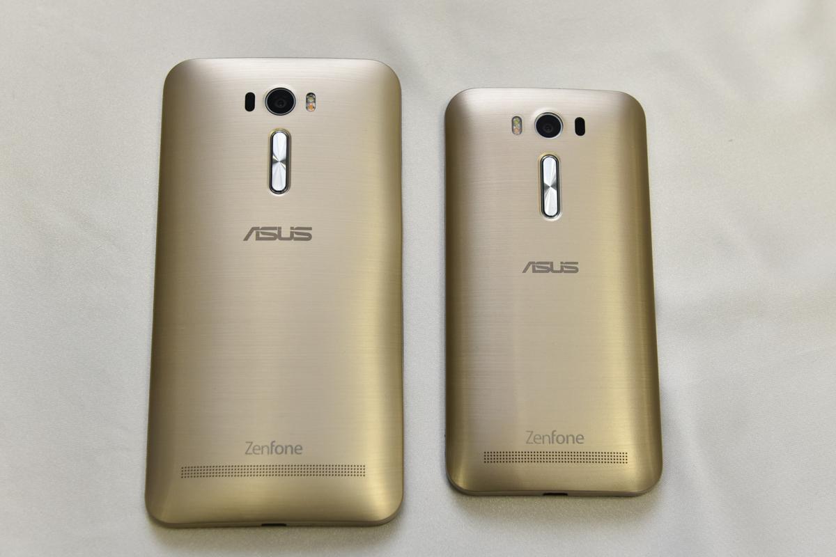 左が6インチ画面の「ZenFone 2 Laser」(ZE601KL)、右が5インチ画面の「ZenFone 2 Laser」(ZE500KL)、新色のゴールド