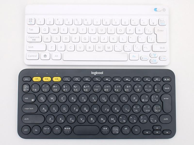 """通称""""ポケモンキーボード""""(上)と同じ、丈夫で優しいデザインの「K380 マルチデバイス Bluetooth キーボード」(下)"""