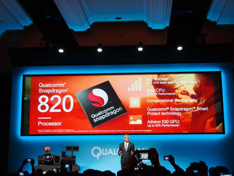 「Snapdragon 820」の特徴。カスタマイズされたクアッドコアの「Kryo」を採用。GPUの性能も40%向上している