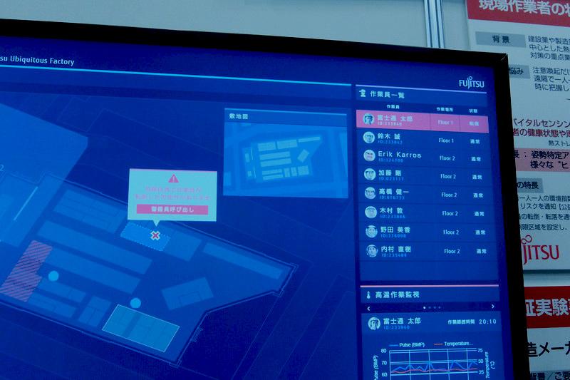 工場で作業員が倒れた時に場所と位置情報付きの合わせてアラートを出す