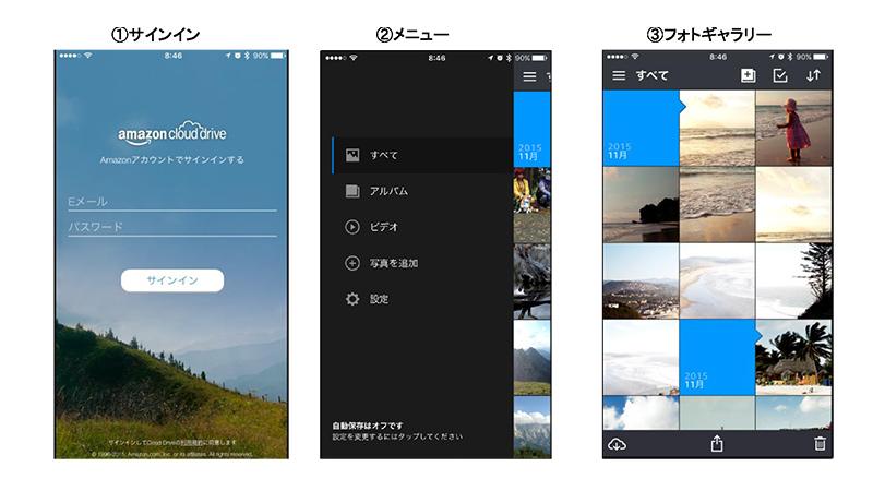 「Amazon Photo」iPhone版アプリの画面イメージ