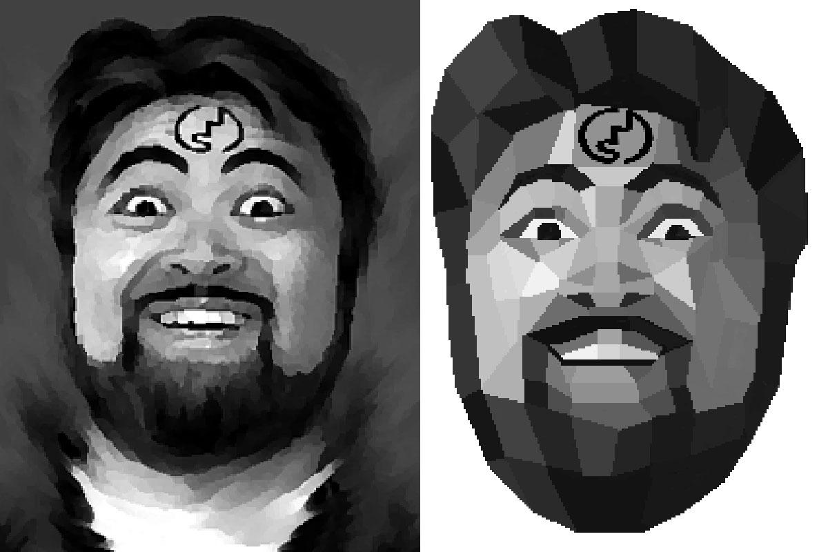 左がサイバー佐藤さんがアレンジした絵で、それをワタクシがポリゴン風にアレンジしました。額にJISマークを付けたのはサイバー佐藤さんだったんですね~。