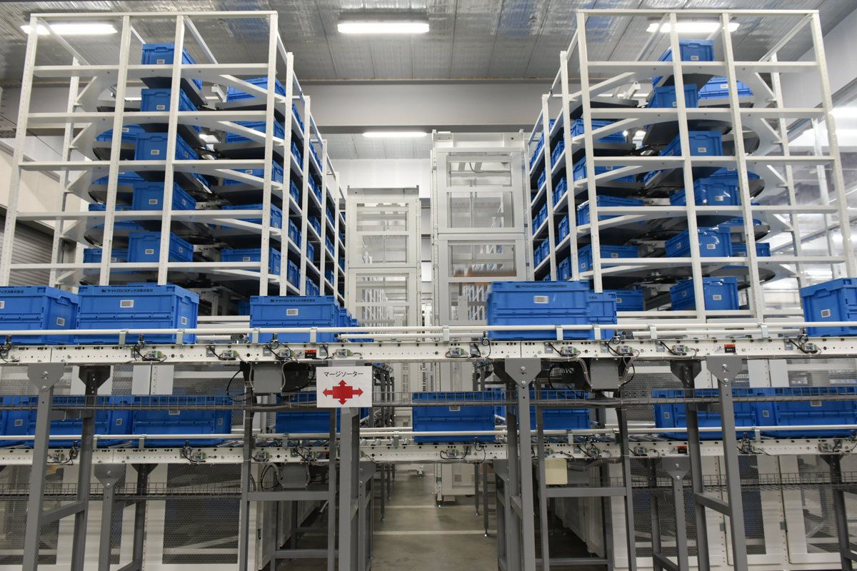 注文に応じて店舗に対応するコンテナが再度ピックアップエリアに戻され、複数商品を同梱して出荷する