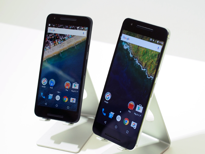 「Nexus 5X」(左)と「Nexus 6P」(右)。写真は発表時のもの