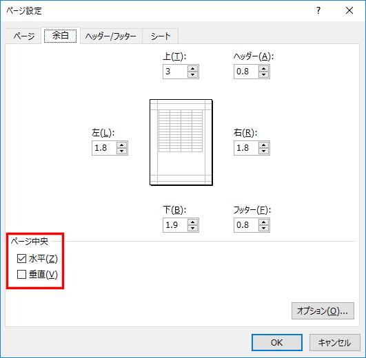 印刷対象を用紙の中央に配置して印刷するには、まず[ファイル]タブの[印刷]をクリックし、「ページ設定」の文字をクリックしてダイアログボックスを表示します。[余白]タブの[水平]、[垂直]にチェックマークを付けて設定します