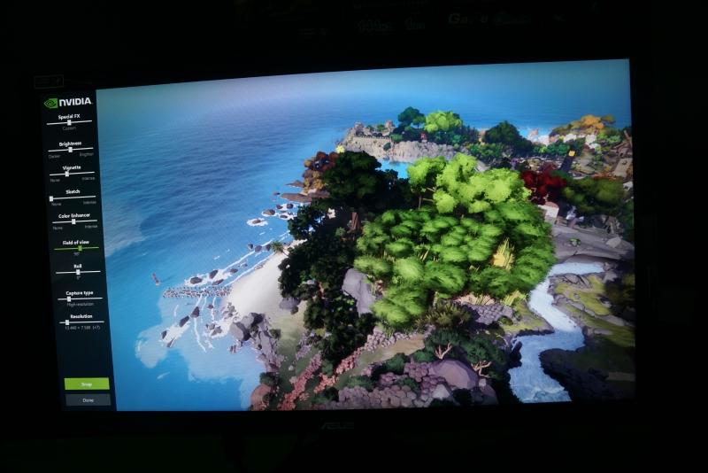ゲーム内の画像を自由に撮影できるAnselのデモ(利用タイトルはTHE WITNESS)。キャプチャ画像をプリント出力できた
