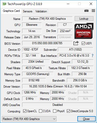 Radeon RX 480のGPU-Z結果
