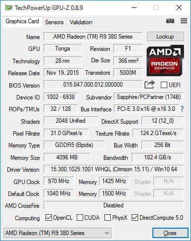 Sapphire NITRO R9 380X 4G GDDR5 PCI-EのGPU-Z結果
