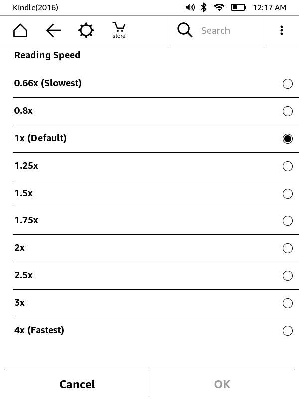 設定画面からは操作方法についてのチュートリアルが見られるほか、音量および読み上げのスピードを調整できる
