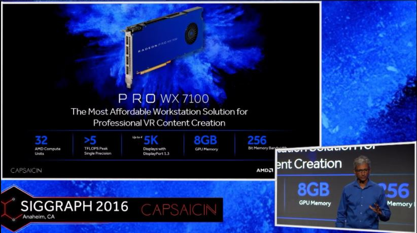 Radeon Pro WX 7100のCUは32基で、メモリは8GB、5TFLOPS以上の演算性能