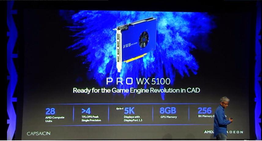 Radeon Pro WX 5100のCUは28基で、メモリは8GB、4TFLOPS以上の演算性能