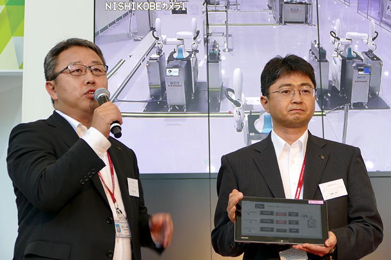 タブレット端末を使った遠隔地のロボット操作もデモされた