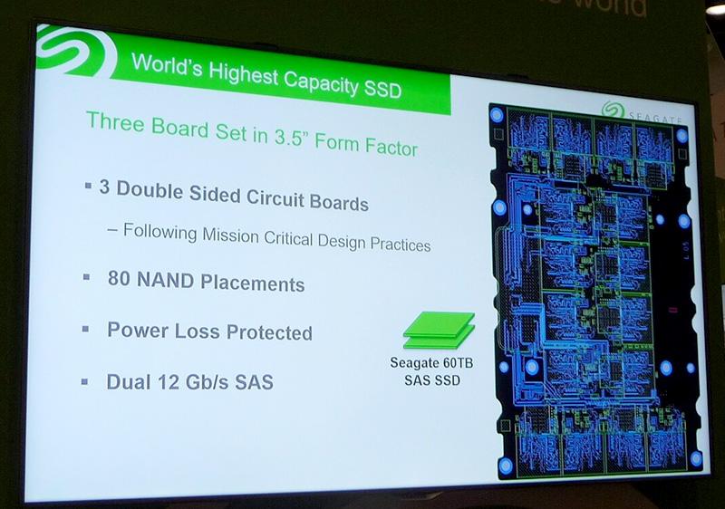 実装技術の概要を説明した画面。右側にあるのはプリント基板の配線設計図面。片面に16個のNANDフラッシュメモリ(パッケージ)を搭載していることが分かる
