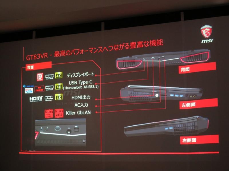 GT83VRの各インターフェイス