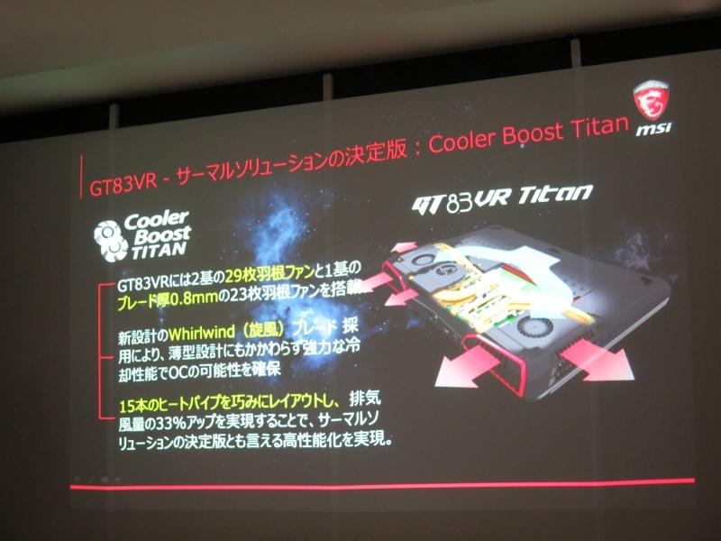 2基の29枚羽ファンと1基のブレード厚0.8mmの23枚羽ファン、そして15本のヒートパイプを採用したCooler Boost Titan