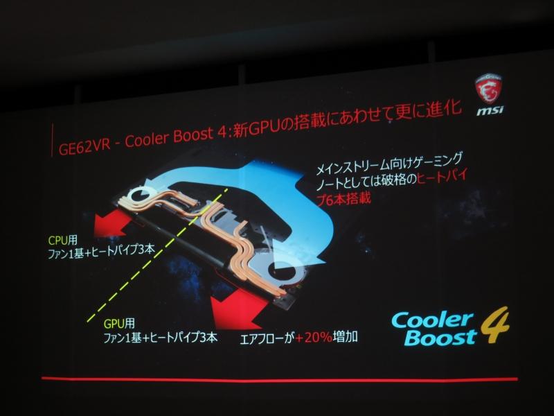 下位の「GE62VR」にもCooler Boost 4を搭載する