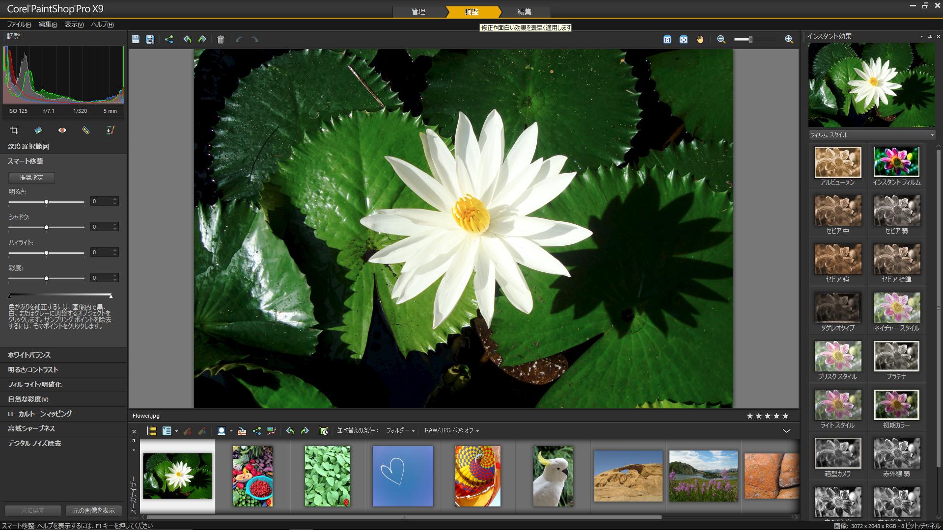 PaintShop Pro X9の「調整」ワークフロー画面