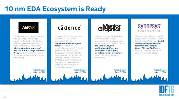 主要EDAツールベンダーとも、10nmプロセスで提携をアナウンス