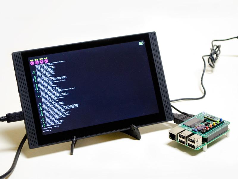 Raspberry Pi3のテンポラリーディスプレイ。Raspberry Pi3に乗ってるドーターボードはApple Pi。基本的にsshで接続するので不要であるが、初期設定などに役に立つ