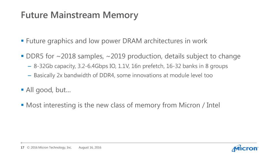 MicronがHot Chipsで示したDDR5の仕様