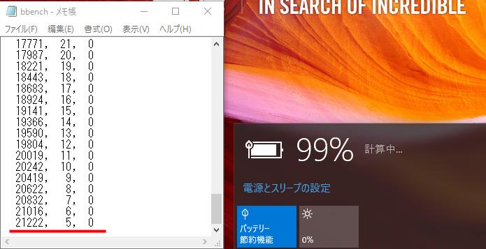 BBenchの結果。バックライト最小、キーストローク出力/オン、Web巡回/オン、WiFi/オン、Bluetooth/オンで、残5%で5.9時間(21,222秒)