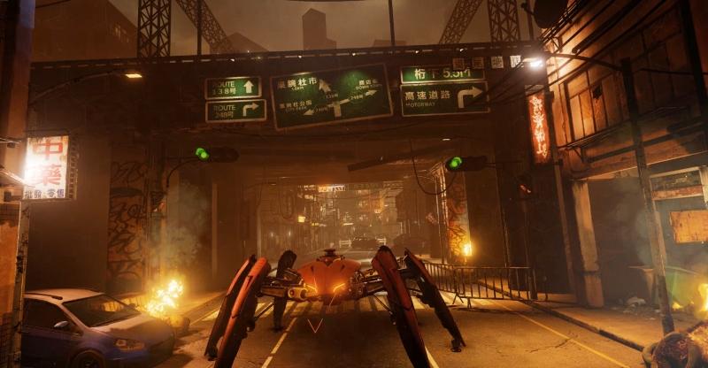 FPSのシューティングゲーム「Project Falcon」。視線追跡により敵を素早く見るだけでロックオンするなど、直感的な操作を可能とする