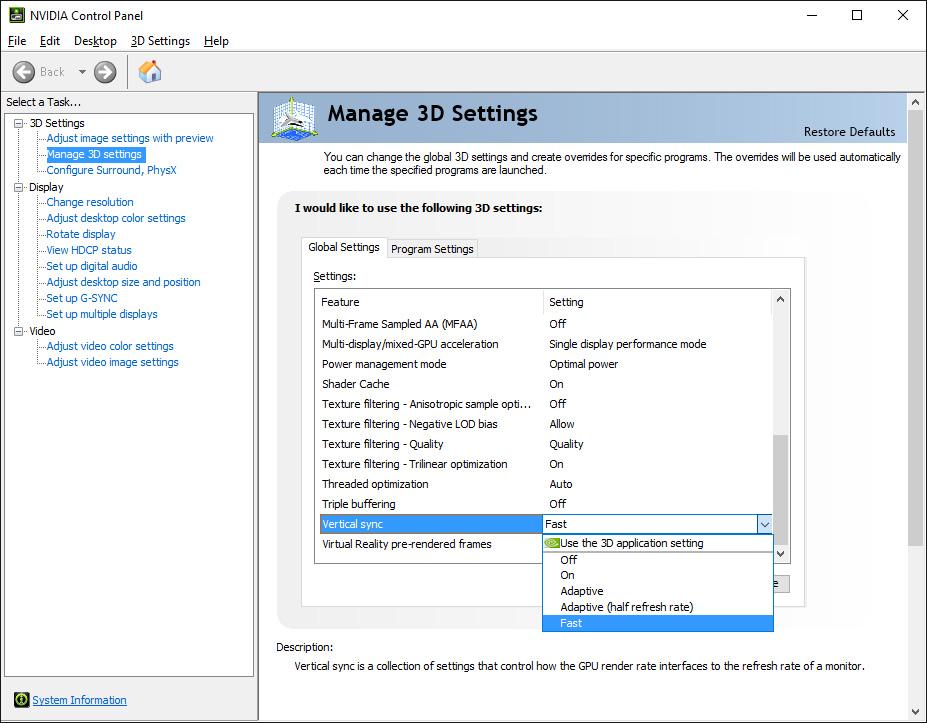 NVIDIAコントロールパネルの垂直同期オプション