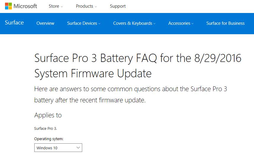 Surface Pro 3のバッテリ問題に関するFAQ