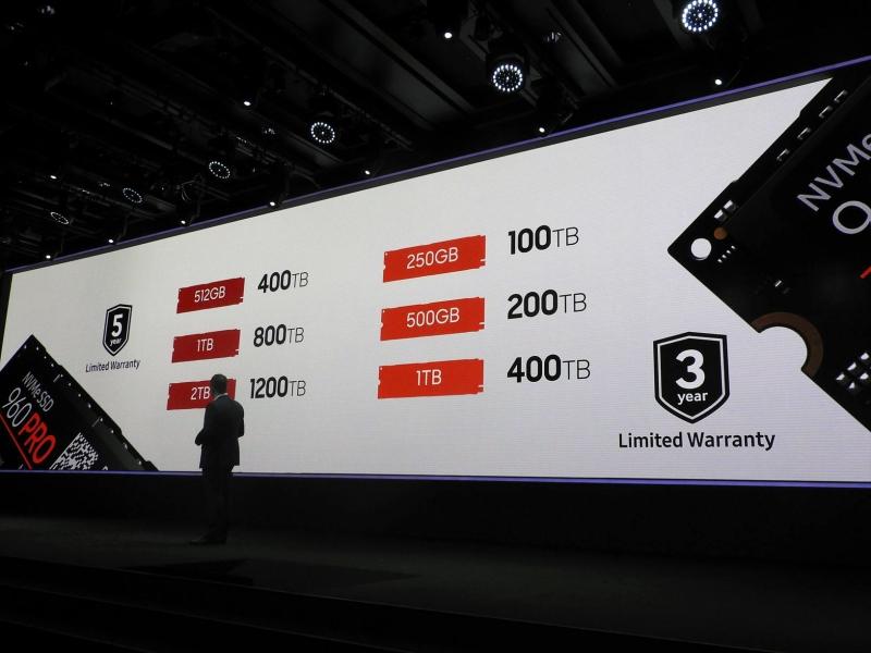 960 PROと960 EVOの書き換え可能容量。前世代に比べて増加している