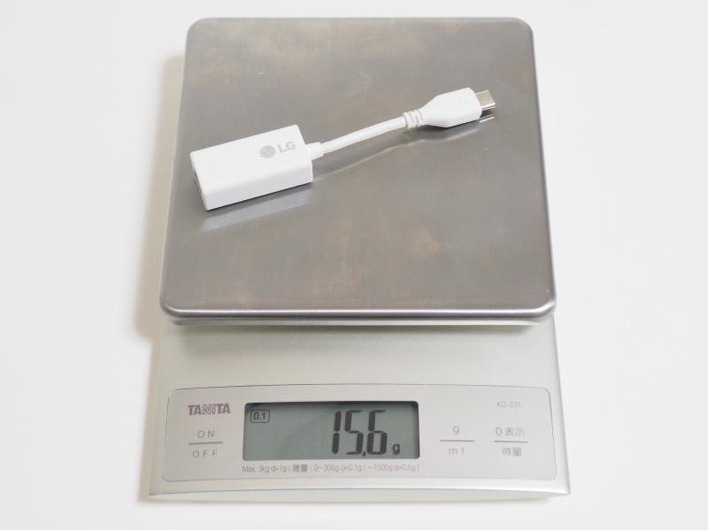 USB Type-C→RJ45変換コネクタの実測重量は15.6g