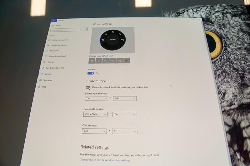 Surface StudioのWindows設定。Wheel Settingと呼ばれる新しい設定が用意されている。サードパーティのデバイスでも今後利用できるようになる予定